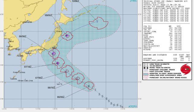台風15号予想進路図(米軍)