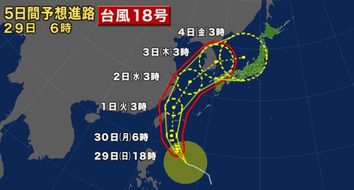 台風18号予想進路図