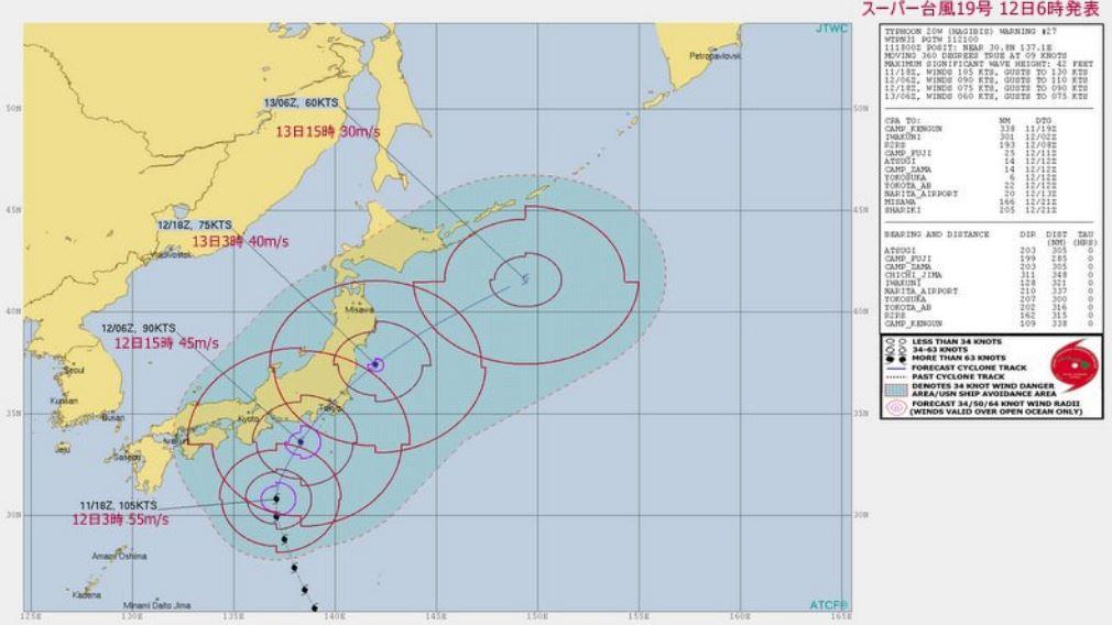 台風19号予想進路図米軍