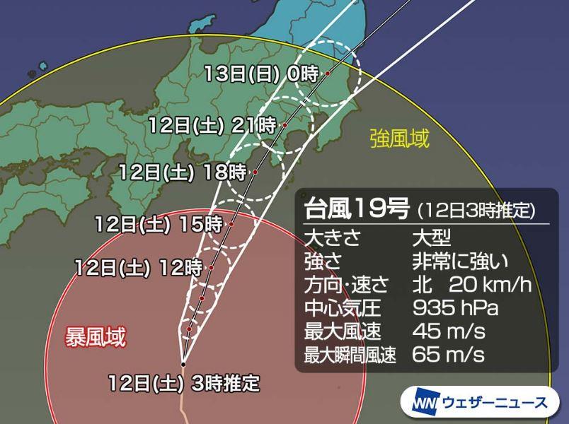 台風19号予想進路図