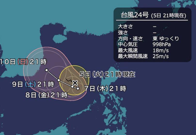 台風24号予想進路図